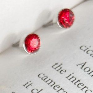 RUBY RED CRYSTAL STUDS